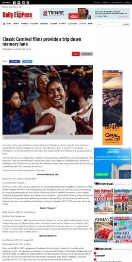 Trinidad Express: Classic Carnival Films a Trip Down Memory Lane